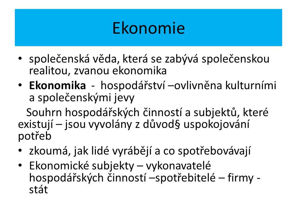 Ekonomie společenská věda, která se zabývá společenskou realitou, zvanou ekonomika Ekonomika - hospodářství –ovlivněna kulturními a společenskými jevy Souhrn hospodářských činností a subjektů, které existují – jsou vyvolány z důvod§ uspokojování potřeb zkoumá, jak lidé vyrábějí a co spotřebovávají Ekonomické subjekty – vykonavatelé hospodářských činností –spotřebitelé – firmy - stát