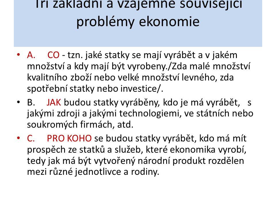 Tři základní a vzájemně související problémy ekonomie A. CO - tzn. jaké statky se mají vyrábět a v jakém množství a kdy mají být vyrobeny./Zda malé mn
