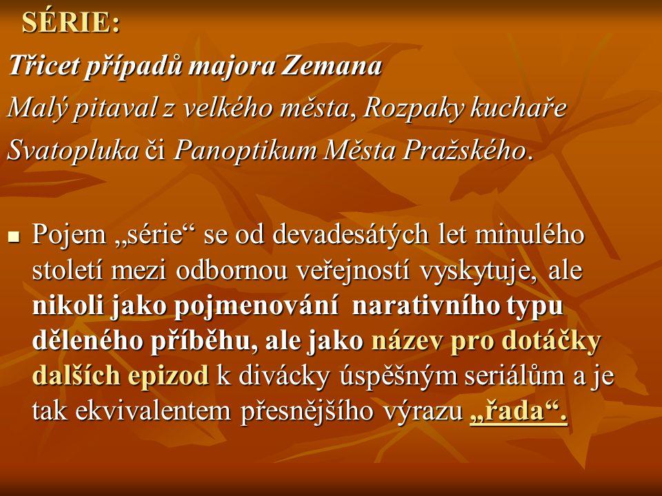 """SÉRIE: SÉRIE: Třicet případů majora Zemana Malý pitaval z velkého města, Rozpaky kuchaře Svatopluka či Panoptikum Města Pražského. Pojem """"série"""" se od"""