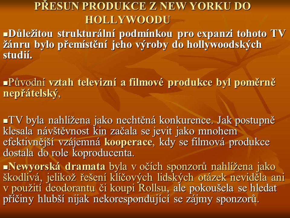PŘESUN PRODUKCE Z NEW YORKU DO PŘESUN PRODUKCE Z NEW YORKU DO HOLLYWOODU HOLLYWOODU Důležitou strukturální podmínkou pro expanzi tohoto TV žánru bylo
