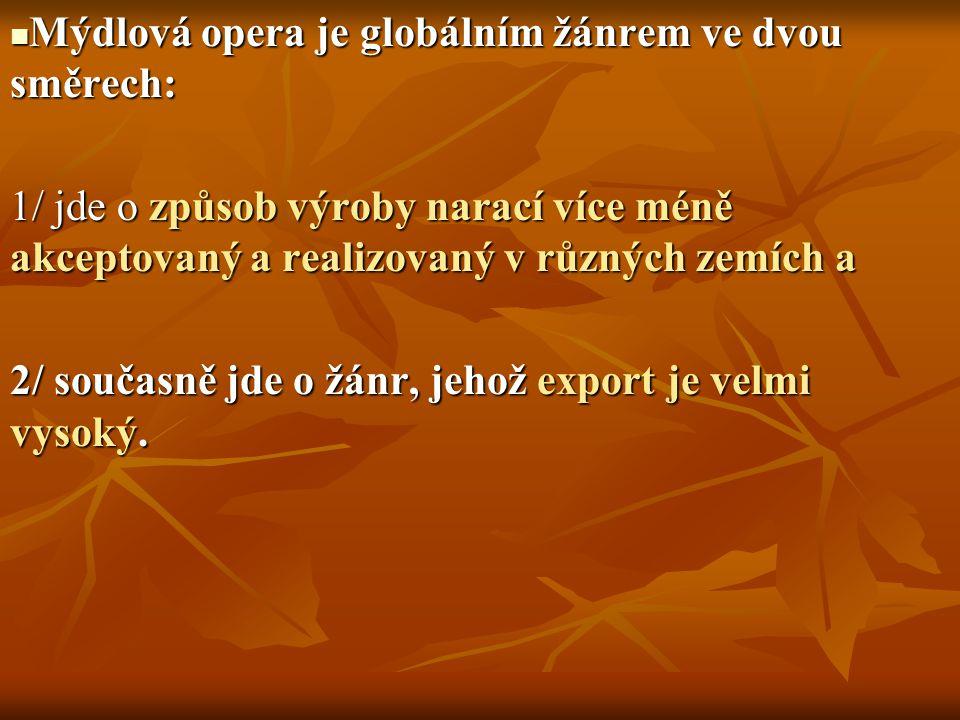 Mýdlová opera je globálním žánrem ve dvou směrech: Mýdlová opera je globálním žánrem ve dvou směrech: 1/ jde o způsob výroby narací více méně akceptov