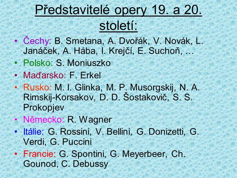 Představitelé opery 19. a 20. století: Čechy: B. Smetana, A. Dvořák, V. Novák, L. Janáček, A. Hába, I. Krejčí, E. Suchoň, … Polsko: S. Moniuszko Maďar