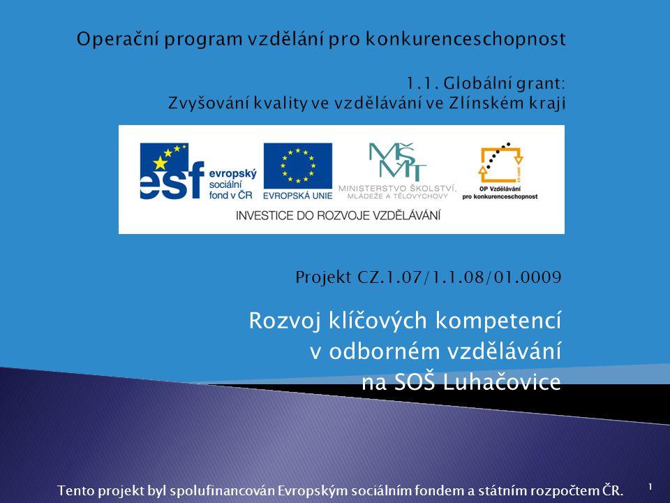Projekt CZ.1.07/1.1.08/01.0009 Rozvoj klíčových kompetencí v odborném vzdělávání na SOŠ Luhačovice 1 Tento projekt byl spolufinancován Evropským sociá
