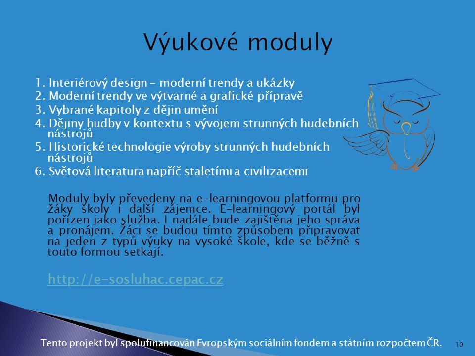 1. Interiérový design – moderní trendy a ukázky 2. Moderní trendy ve výtvarné a grafické přípravě 3. Vybrané kapitoly z dějin umění 4. Dějiny hudby v