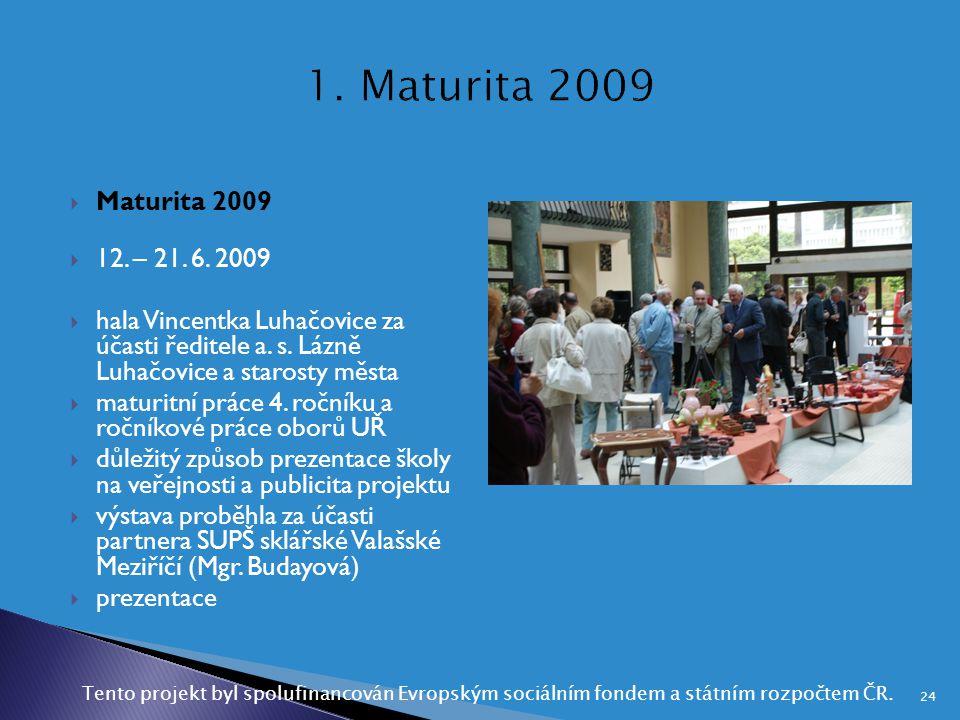  Maturita 2009  12. – 21. 6. 2009  hala Vincentka Luhačovice za účasti ředitele a. s. Lázně Luhačovice a starosty města  maturitní práce 4. ročník