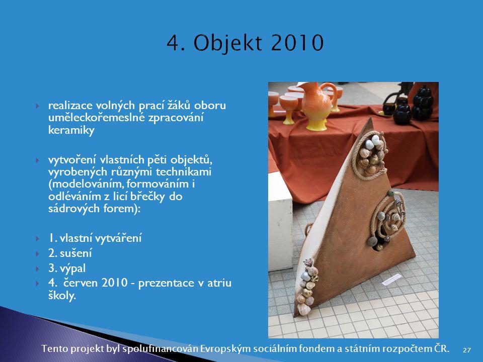  realizace volných prací žáků oboru uměleckořemeslné zpracování keramiky  vytvoření vlastních pěti objektů, vyrobených různými technikami (modelován