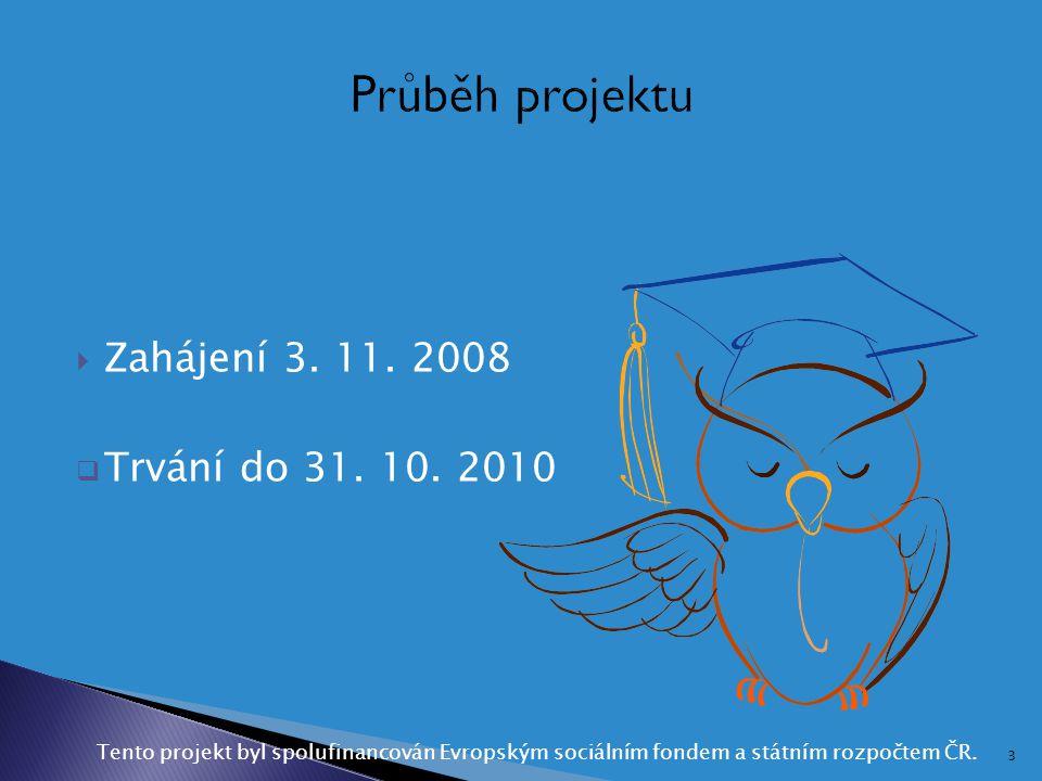  Zahájení 3. 11. 2008  Trvání do 31. 10. 2010 Tento projekt byl spolufinancován Evropským sociálním fondem a státním rozpočtem ČR. 3