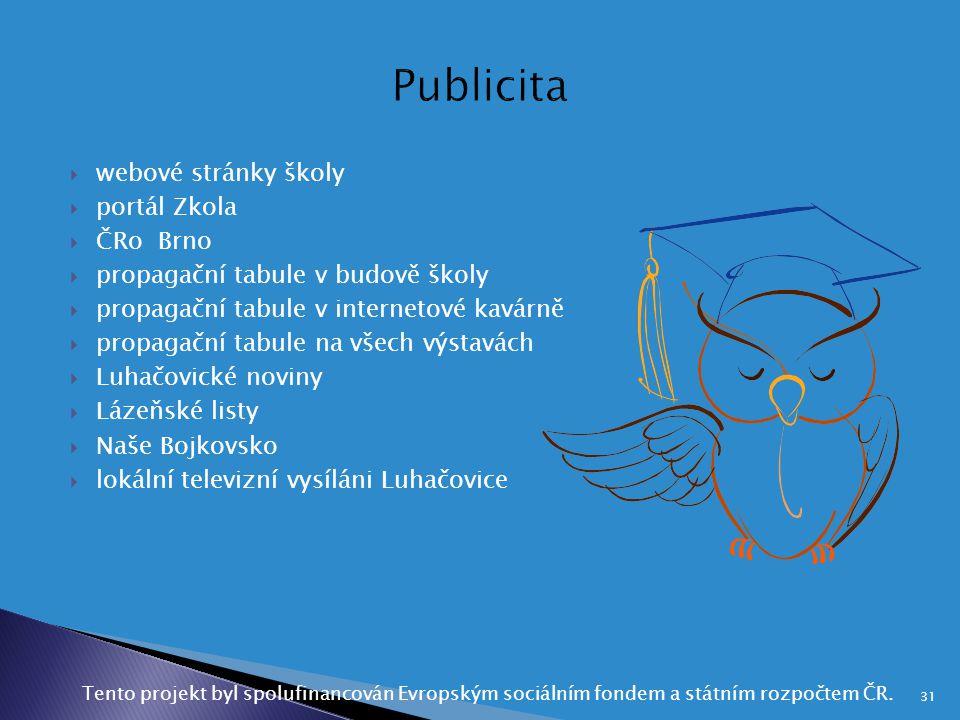  webové stránky školy  portál Zkola  ČRo Brno  propagační tabule v budově školy  propagační tabule v internetové kavárně  propagační tabule na v
