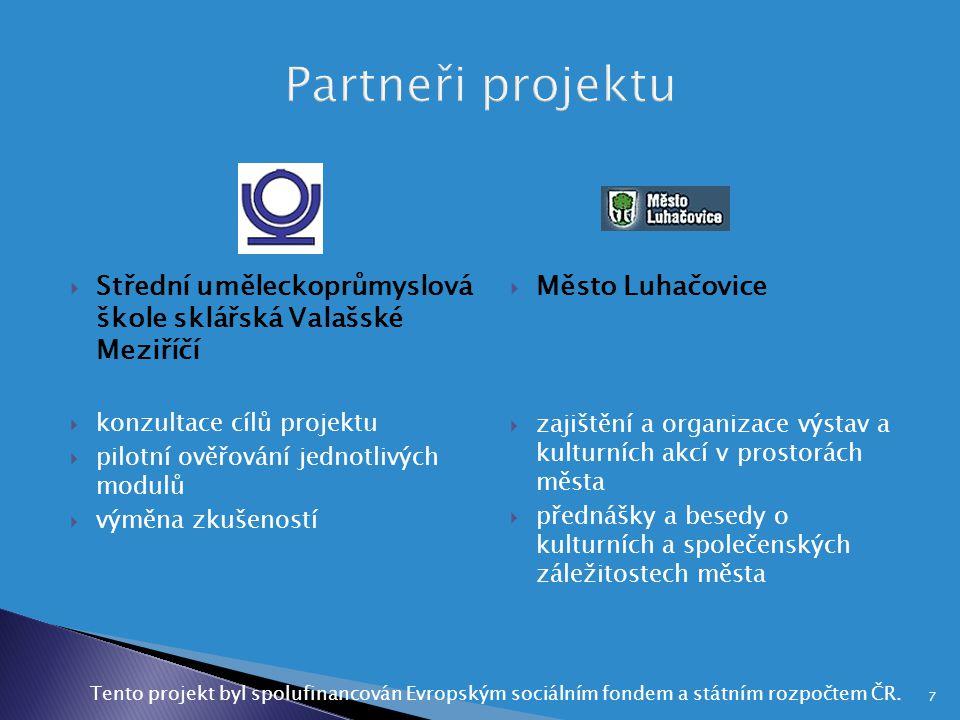  Střední uměleckoprůmyslová škole sklářská Valašské Meziříčí  konzultace cílů projektu  pilotní ověřování jednotlivých modulů  výměna zkušeností 