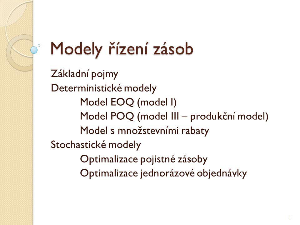 Modely řízení zásob Základní pojmy Deterministické modely Model EOQ (model I) Model POQ (model III – produkční model) Model s množstevními rabaty Stoc
