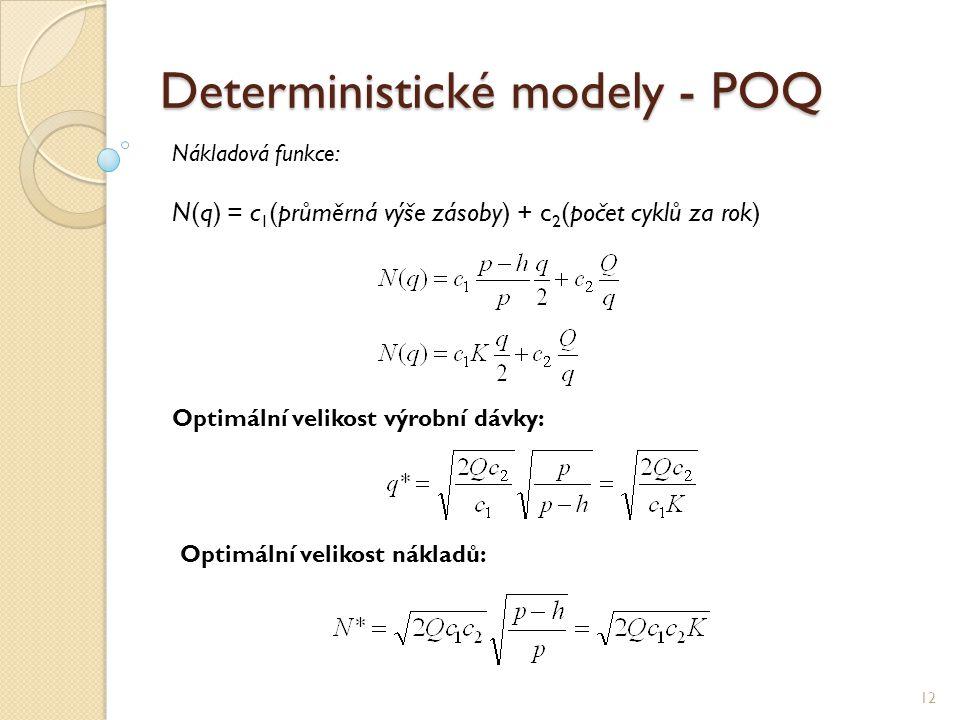 Deterministické modely - POQ 12 Nákladová funkce: N(q) = c 1 (průměrná výše zásoby) + c 2 (počet cyklů za rok) Optimální velikost výrobní dávky: Optim