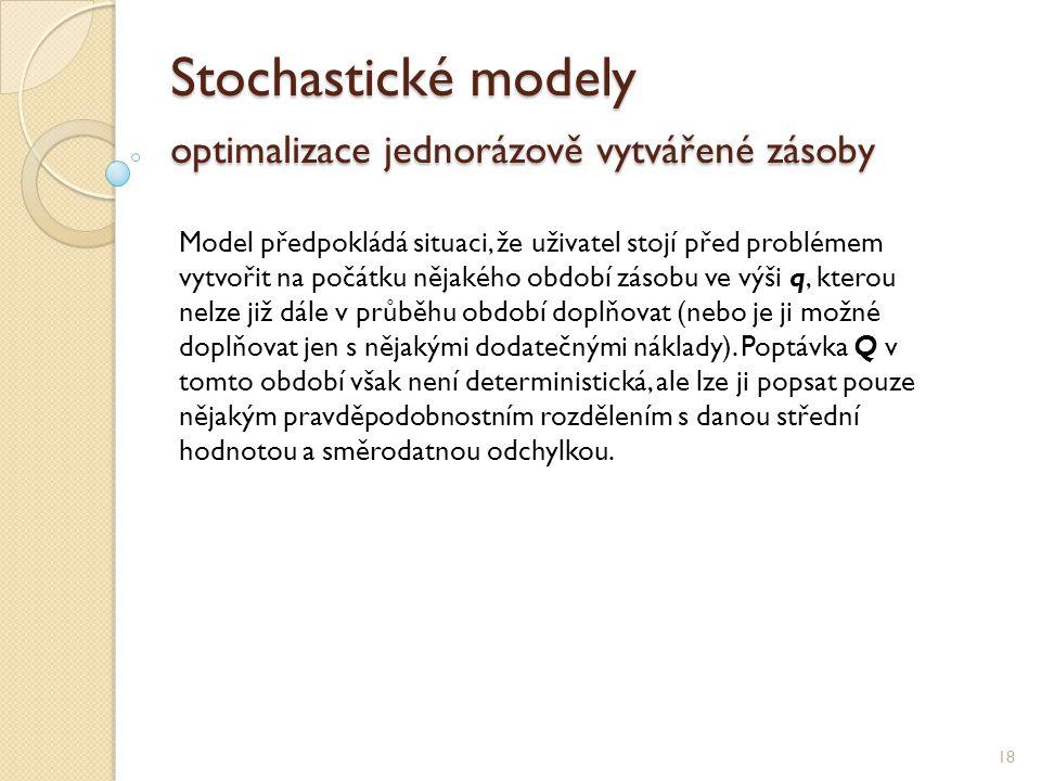 Stochastické modely optimalizace jednorázově vytvářené zásoby 18 Model předpokládá situaci, že uživatel stojí před problémem vytvořit na počátku nějak