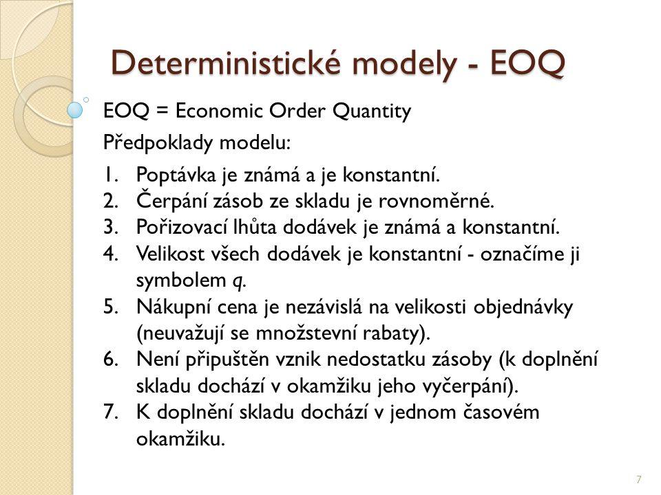 Deterministické modely - EOQ 7 EOQ = Economic Order Quantity Předpoklady modelu: 1.Poptávka je známá a je konstantní. 2.Čerpání zásob ze skladu je rov