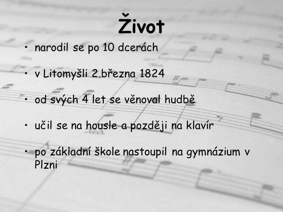 po odmaturování odešel do Prahy kde studoval hudbu u Josefa Proksche sám se živil jako učitel hudby r.1848 založil svou vlastní hudební školu se svou ženou měl 5 dcer přežila jen jedna Žofie