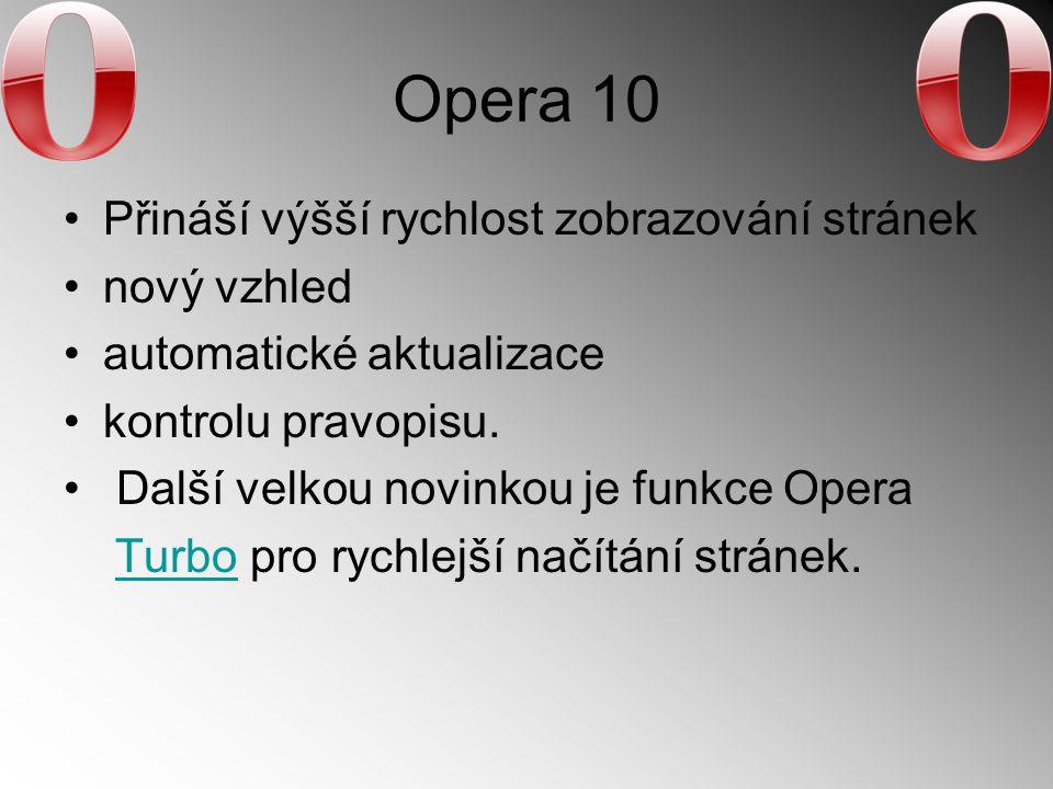 Opera 10 Přináší výšší rychlost zobrazování stránek nový vzhled automatické aktualizace kontrolu pravopisu. Další velkou novinkou je funkce Opera Turb