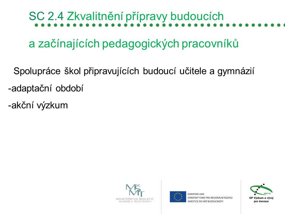 SC 2.4 Zkvalitnění přípravy budoucích a začínajících pedagogických pracovníků Spolupráce škol připravujících budoucí učitele a gymnázií -adaptační obd