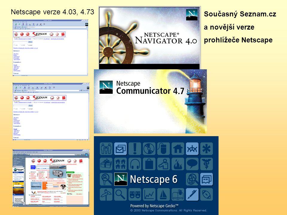 Současný Seznam.cz a novější verze prohlížeče Netscape Netscape verze 4.03, 4.73