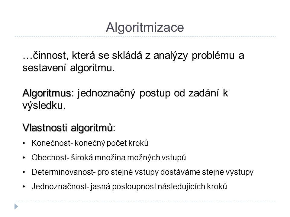 Algoritmizace …činnost, která se skládá z analýzy problému a sestavení algoritmu. Algoritmus Algoritmus: jednoznačný postup od zadání k výsledku. Vlas