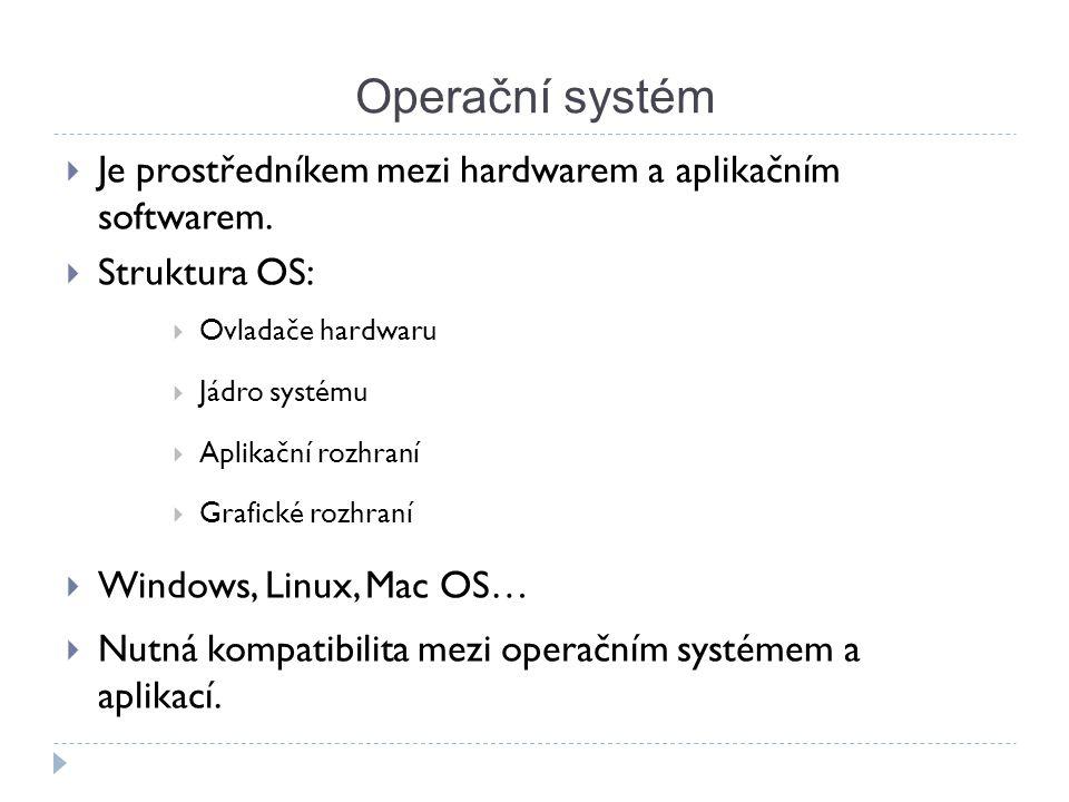 Operační systém  Je prostředníkem mezi hardwarem a aplikačním softwarem.  Struktura OS:  Ovladače hardwaru  Jádro systému  Aplikační rozhraní  G