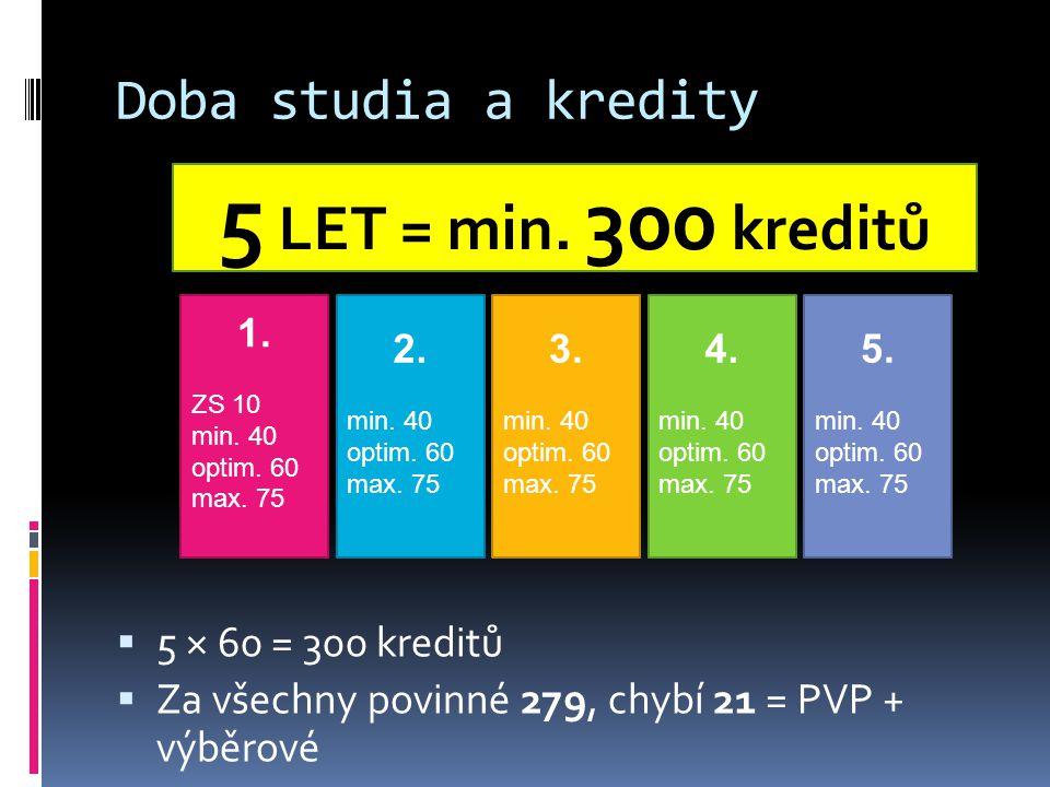Doba studia a kredity  5 × 60 = 300 kreditů  Za všechny povinné 279, chybí 21 = PVP + výběrové 5 LET = min.