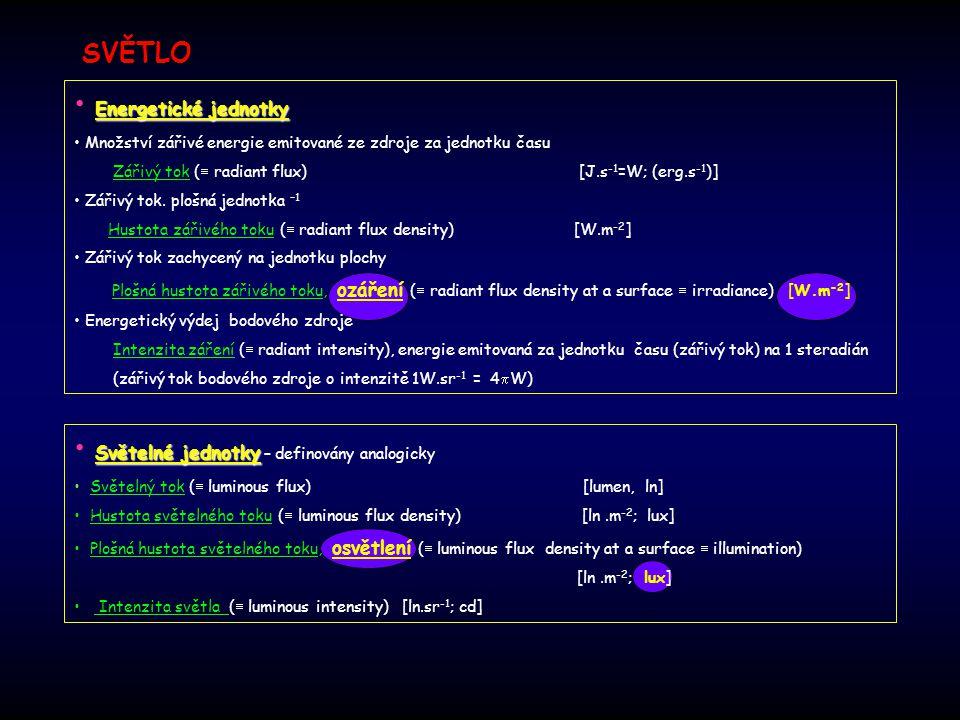 Světelné jednotky Světelné jednotky – definovány analogicky Světelný tok (  luminous flux) [lumen, ln] Hustota světelného toku (  luminous flux dens