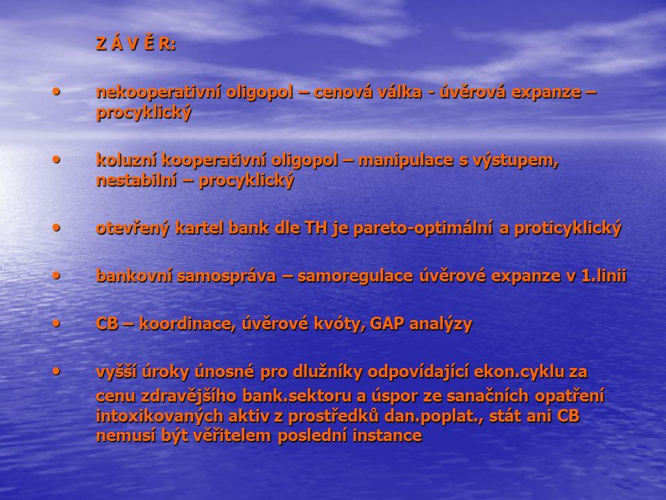 Z Á V Ě R: nekooperativní oligopol – cenová válka - úvěrová expanze – procyklický nekooperativní oligopol – cenová válka - úvěrová expanze – procyklický koluzní kooperativní oligopol – manipulace s výstupem, nestabilní – procyklický koluzní kooperativní oligopol – manipulace s výstupem, nestabilní – procyklický otevřený kartel bank dle TH je pareto-optimální a proticyklický otevřený kartel bank dle TH je pareto-optimální a proticyklický bankovní samospráva – samoregulace úvěrové expanze v 1.linii bankovní samospráva – samoregulace úvěrové expanze v 1.linii CB – koordinace, úvěrové kvóty, GAP analýzy CB – koordinace, úvěrové kvóty, GAP analýzy vyšší úroky únosné pro dlužníky odpovídající ekon.cyklu za vyšší úroky únosné pro dlužníky odpovídající ekon.cyklu za cenu zdravějšího bank.sektoru a úspor ze sanačních opatření intoxikovaných aktiv z prostředků dan.poplat., stát ani CB nemusí být věřitelem poslední instance