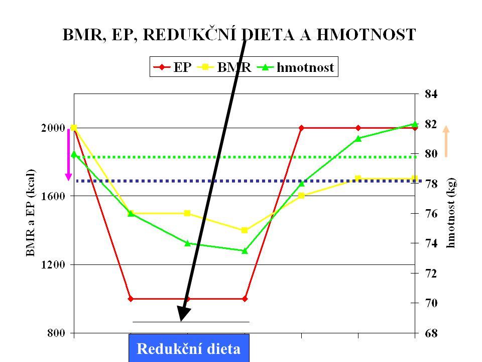 BAZÁLNÍ METABOLISMUS Dlouhodobé hladovění - pokles BM  klesá aktivita sympatiku  klesají katecholaminy  klesají hormony štítné žlázy Proto při redu