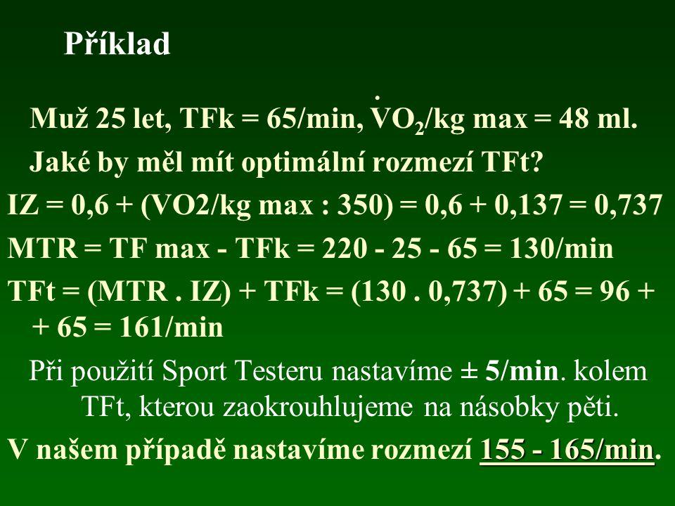 Výpočet tréninkové TF (TFt) 50-letý muž by při TFk = 60/min a VO 2 /kg max = 35 ml, měl optimální IZ 70% MTR, TFt ? TFt = [0,7. (170 - 60)] + 60 = [0,