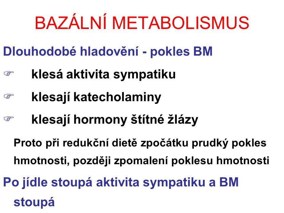 BAZÁLNÍ METABOLISMUS Dlouhodobé hladovění - pokles BM  klesá aktivita sympatiku  klesají katecholaminy  klesají hormony štítné žlázy Proto při redukční dietě zpočátku prudký pokles hmotnosti, později zpomalení poklesu hmotnosti Po jídle stoupá aktivita sympatiku a BM stoupá