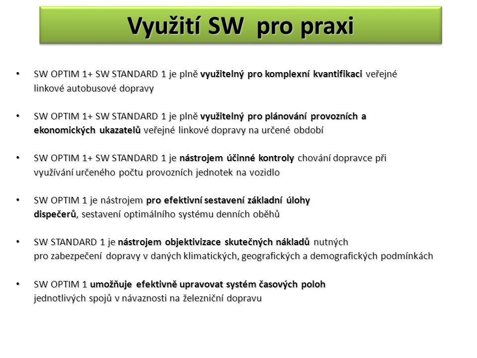 Využití SW pro praxi SW OPTIM 1+ SW STANDARD 1 je plně využitelný pro komplexní kvantifikaci veřejné SW OPTIM 1+ SW STANDARD 1 je plně využitelný pro komplexní kvantifikaci veřejné linkové autobusové dopravy SW OPTIM 1+ SW STANDARD 1 je plně využitelný pro plánování provozních a SW OPTIM 1+ SW STANDARD 1 je plně využitelný pro plánování provozních a ekonomických ukazatelů veřejné linkové dopravy na určené období SW OPTIM 1+ SW STANDARD 1 je nástrojem účinné kontroly chování dopravce při SW OPTIM 1+ SW STANDARD 1 je nástrojem účinné kontroly chování dopravce při využívání určeného počtu provozních jednotek na vozidlo SW OPTIM 1 je nástrojem pro efektivní sestavení základní úlohy SW OPTIM 1 je nástrojem pro efektivní sestavení základní úlohy dispečerů, sestavení optimálního systému denních oběhů SW STANDARD 1 je nástrojem objektivizace skutečných nákladů nutných SW STANDARD 1 je nástrojem objektivizace skutečných nákladů nutných pro zabezpečení dopravy v daných klimatických, geografických a demografických podmínkách SW OPTIM 1 umožňuje efektivně upravovat systém časových poloh SW OPTIM 1 umožňuje efektivně upravovat systém časových poloh jednotlivých spojů v návaznosti na železniční dopravu