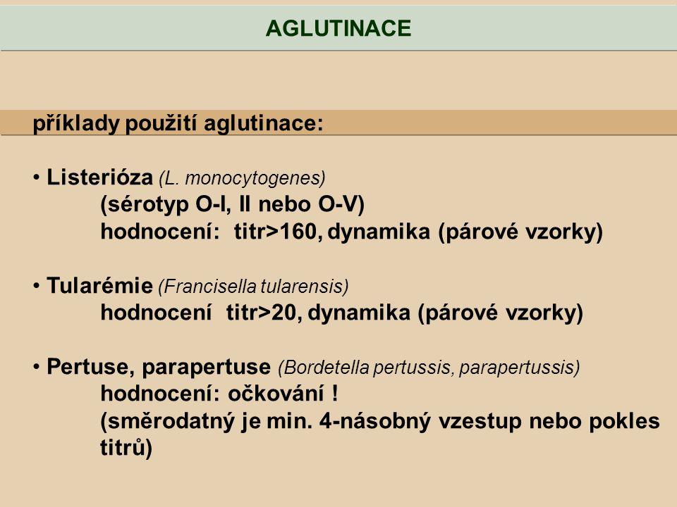 příklady použití aglutinace: Listerióza (L. monocytogenes) (sérotyp O-I, II nebo O-V) hodnocení: titr>160, dynamika (párové vzorky) Tularémie (Francis