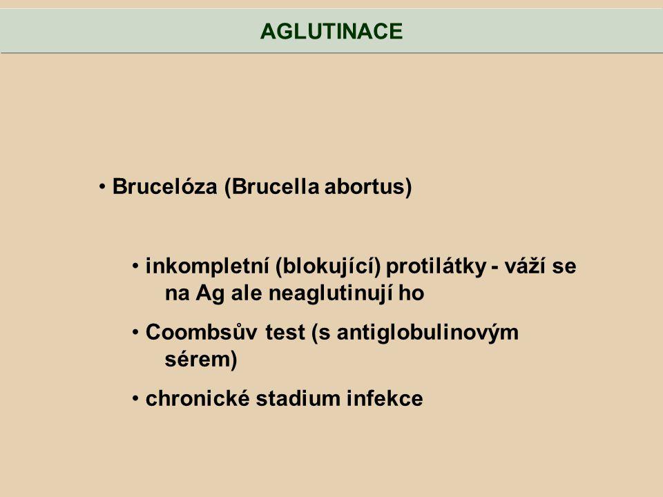 Brucelóza (Brucella abortus) inkompletní (blokující) protilátky - váží se na Ag ale neaglutinují ho Coombsův test (s antiglobulinovým sérem) chronické