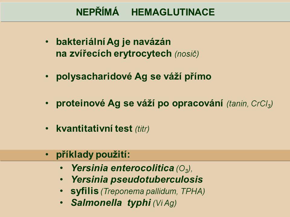 NEPŘÍMÁ HEMAGLUTINACE bakteriální Ag je navázán na zvířecích erytrocytech (nosič) polysacharidové Ag se váží přímo proteinové Ag se váží po opracování