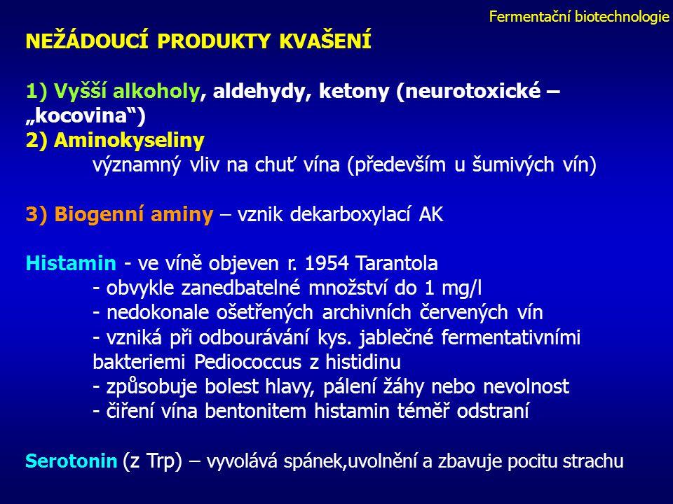 """Fermentační biotechnologie NEŽÁDOUCÍ PRODUKTY KVAŠENÍ 1) Vyšší alkoholy, aldehydy, ketony (neurotoxické – """"kocovina ) 2) Aminokyseliny významný vliv na chuť vína (především u šumivých vín) 3) Biogenní aminy – vznik dekarboxylací AK Histamin - ve víně objeven r."""