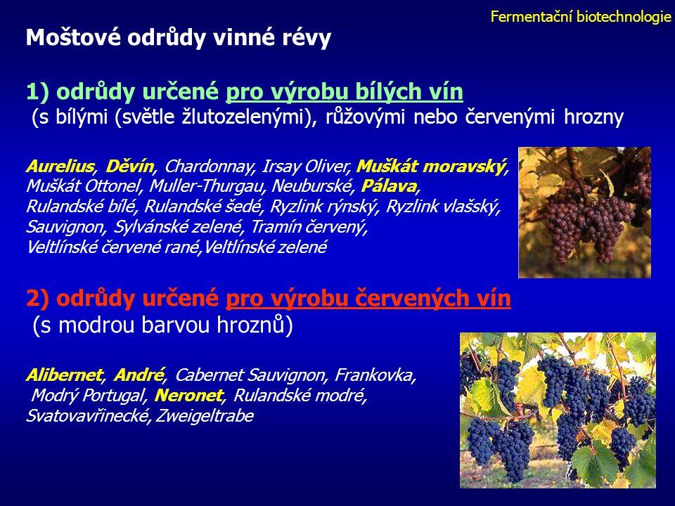 Fermentační biotechnologie Moštové odrůdy vinné révy 1) odrůdy určené pro výrobu bílých vín (s bílými (světle žlutozelenými), růžovými nebo červenými hrozny Aurelius, Děvín, Chardonnay, Irsay Oliver, Muškát moravský, Muškát Ottonel, Muller-Thurgau, Neuburské, Pálava, Rulandské bílé, Rulandské šedé, Ryzlink rýnský, Ryzlink vlašský, Sauvignon, Sylvánské zelené, Tramín červený, Veltlínské červené rané,Veltlínské zelené 2) odrůdy určené pro výrobu červených vín (s modrou barvou hroznů) Alibernet, André, Cabernet Sauvignon, Frankovka, Modrý Portugal, Neronet, Rulandské modré, Svatovavřinecké, Zweigeltrabe
