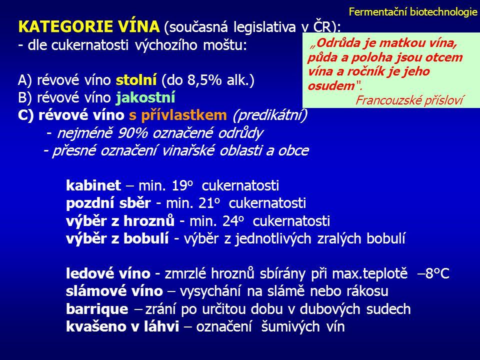 Fermentační biotechnologie KATEGORIE VÍNA (současná legislativa v ČR): - dle cukernatosti výchozího moštu: A) révové víno stolní (do 8,5% alk.) B) révové víno jakostní C) révové víno s přívlastkem (predikátní) - nejméně 90% označené odrůdy - přesné označení vinařské oblasti a obce kabinet – min.