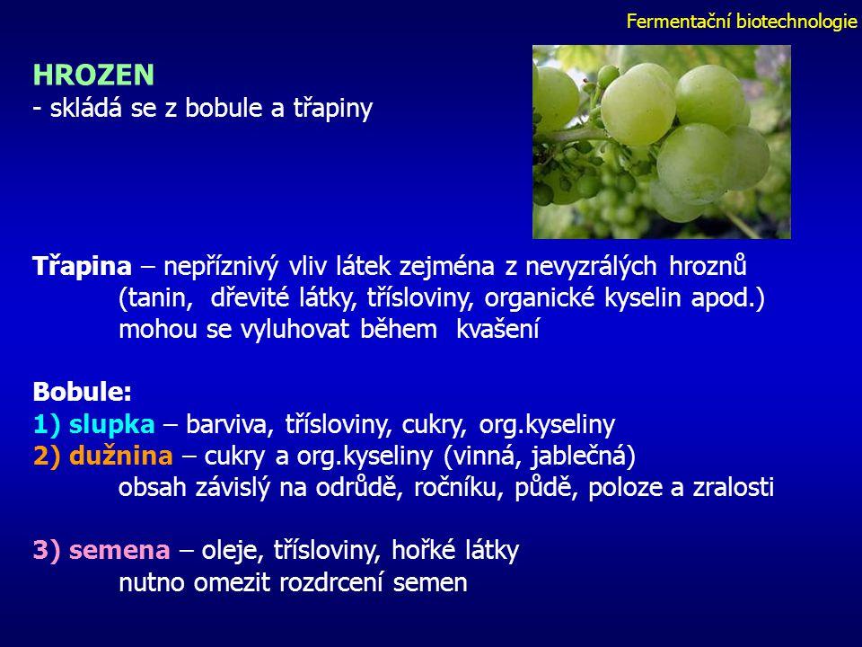 Fermentační biotechnologie HROZEN - skládá se z bobule a třapiny Třapina – nepříznivý vliv látek zejména z nevyzrálých hroznů (tanin, dřevité látky, třísloviny, organické kyselin apod.) mohou se vyluhovat během kvašení Bobule: 1) slupka – barviva, třísloviny, cukry, org.kyseliny 2) dužnina – cukry a org.kyseliny (vinná, jablečná) obsah závislý na odrůdě, ročníku, půdě, poloze a zralosti 3) semena – oleje, třísloviny, hořké látky nutno omezit rozdrcení semen