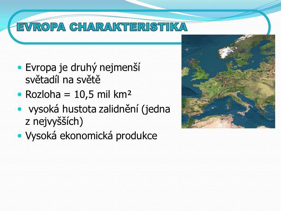 Evropa je druhý nejmenší světadíl na světě Rozloha = 10,5 mil km² vysoká hustota zalidnění (jedna z nejvyšších) Vysoká ekonomická produkce
