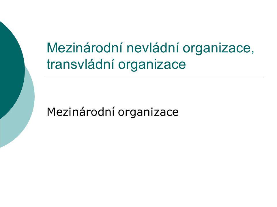 Mezinárodní nevládní organizace, transvládní organizace Mezinárodní organizace