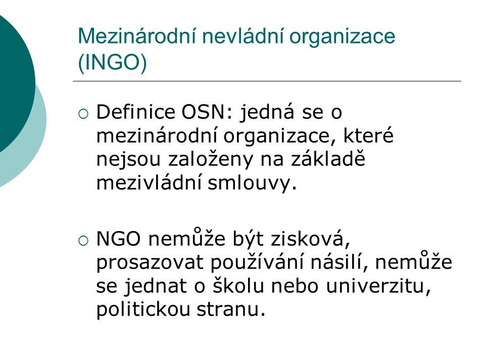 Mezinárodní nevládní organizace (INGO)  Obtížná klasifikace → mají různorodé cíle, původ Sociální účel Profesní Specifické cíle  Mohou být rozděleny geograficky na INGO Severu a Jihu.