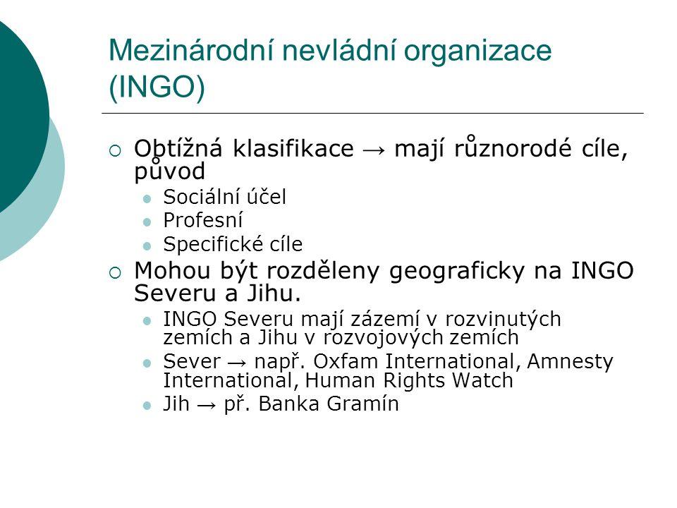 Mezinárodní nevládní organizace (INGO)  Obtížná klasifikace → mají různorodé cíle, původ Sociální účel Profesní Specifické cíle  Mohou být rozděleny