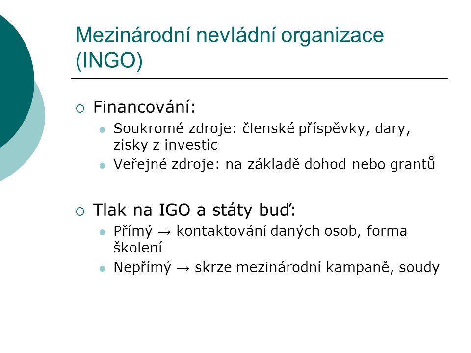 Mezinárodní nevládní organizace (INGO)  Financování: Soukromé zdroje: členské příspěvky, dary, zisky z investic Veřejné zdroje: na základě dohod nebo