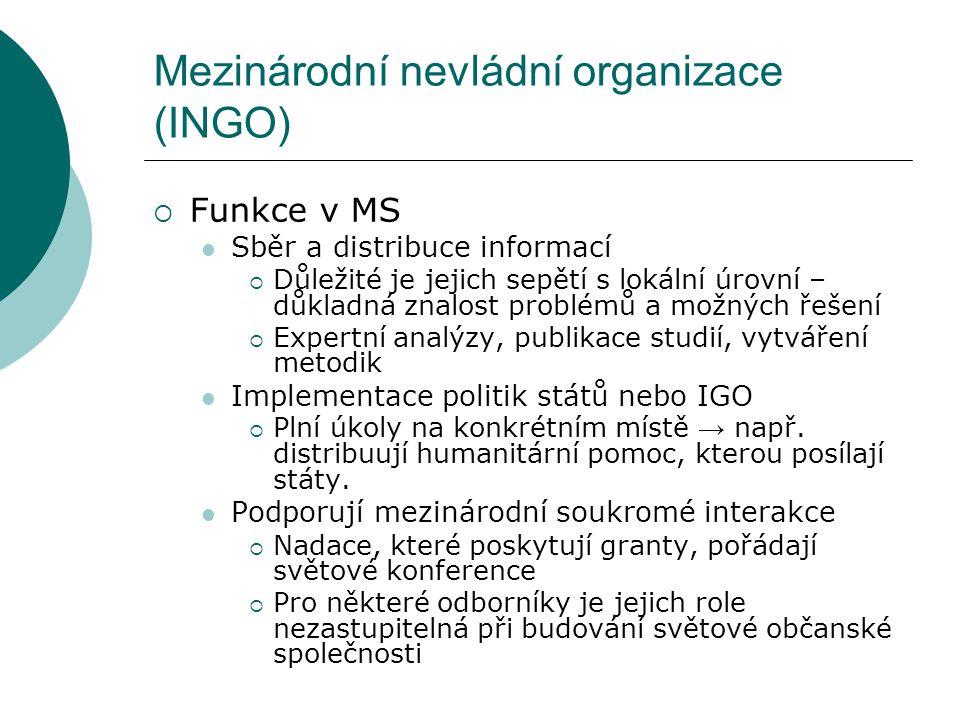 Mezinárodní nevládní organizace (INGO)  Funkce v MS Sběr a distribuce informací  Důležité je jejich sepětí s lokální úrovní – důkladná znalost probl