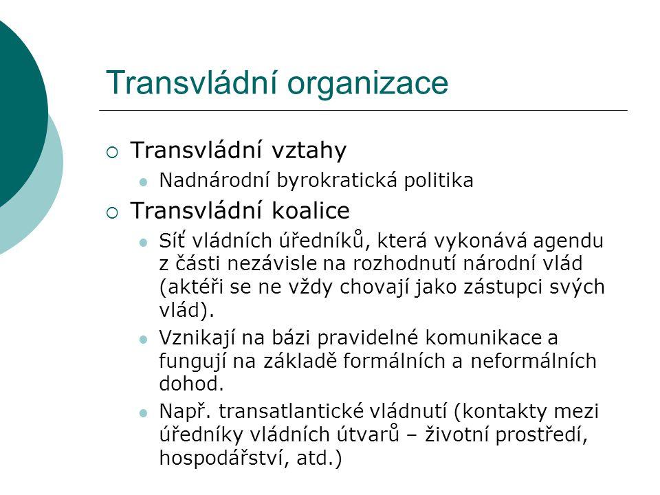Transvládní organizace  Transvládní vztahy Nadnárodní byrokratická politika  Transvládní koalice Síť vládních úředníků, která vykonává agendu z část