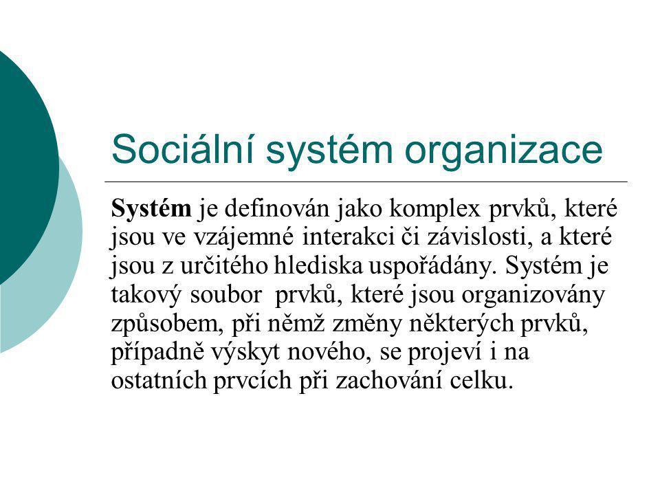 Sociální systém organizace Systém je definován jako komplex prvků, které jsou ve vzájemné interakci či závislosti, a které jsou z určitého hlediska uspořádány.