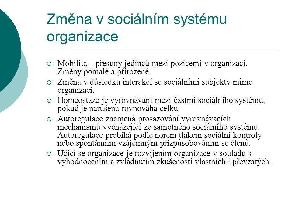 Změna v sociálním systému organizace  Mobilita – přesuny jedinců mezi pozicemi v organizaci.