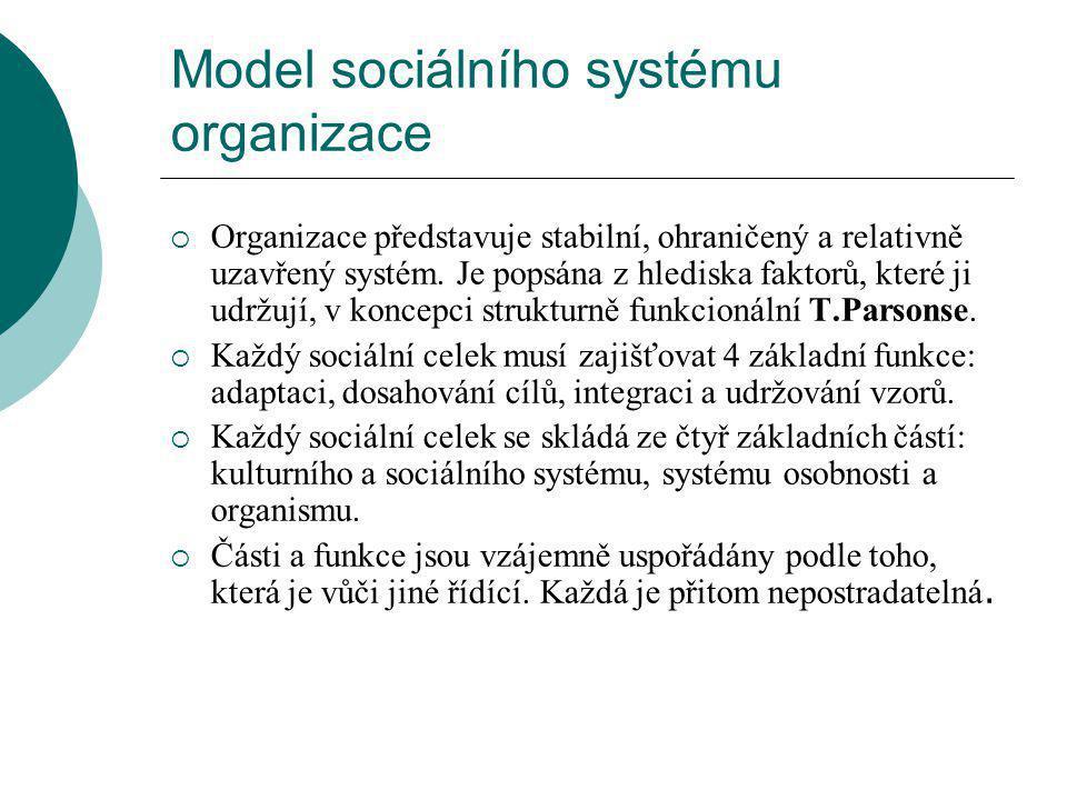Model sociálního systému organizace  Organizace představuje stabilní, ohraničený a relativně uzavřený systém.