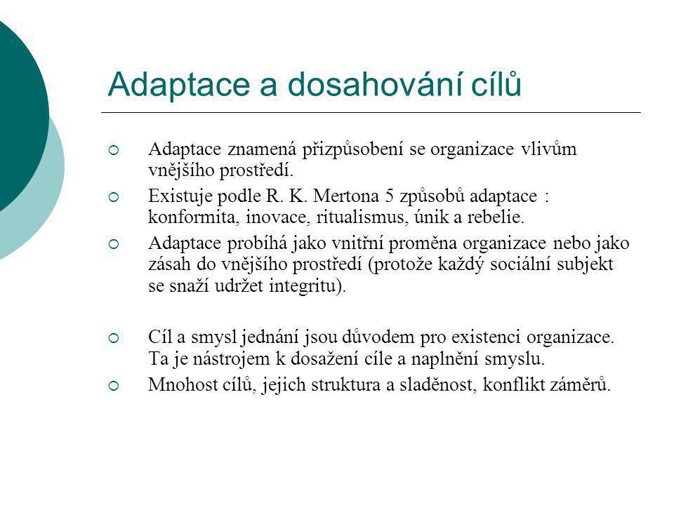 Adaptace a dosahování cílů  Adaptace znamená přizpůsobení se organizace vlivům vnějšího prostředí.