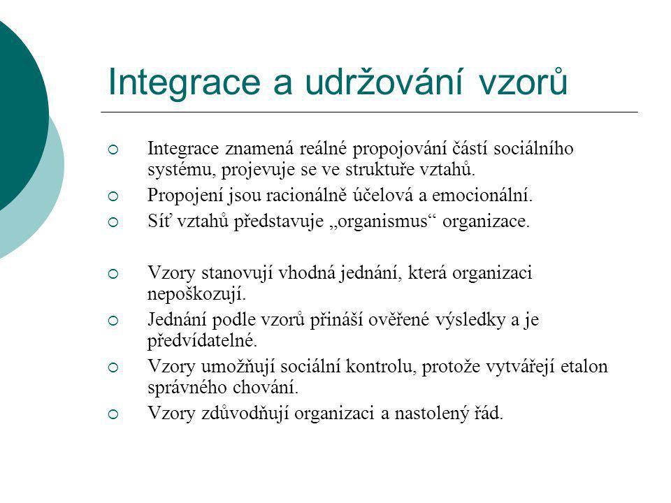 Integrace a udržování vzorů  Integrace znamená reálné propojování částí sociálního systému, projevuje se ve struktuře vztahů.