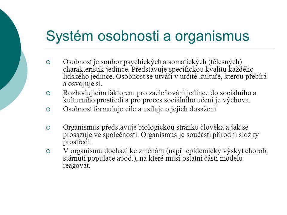 Systém osobnosti a organismus  Osobnost je soubor psychických a somatických (tělesných) charakteristik jedince.